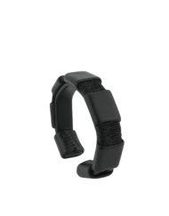 bracelet associant cuir noir et fils de lurex noirs made in France