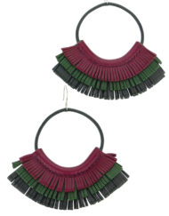 Leather Hoop Earrings burgundy green black made in France