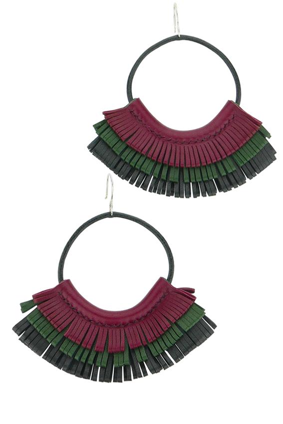 Boucles d'oreilles en cuir bordeaux vert et noir made in France