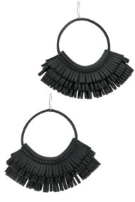 Black Leather Hoop Earrings made in France