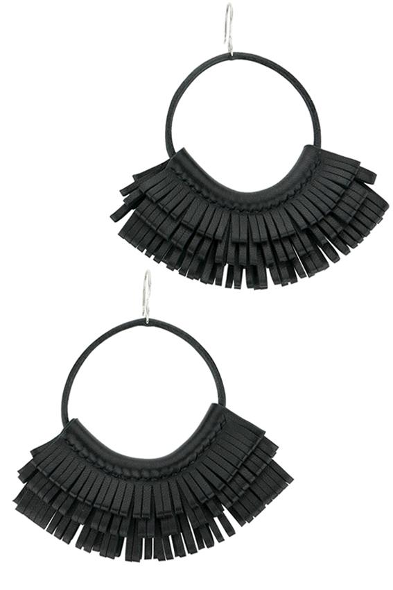Boucles d'oreilles créoles en cuir noir made in France