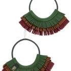 Boucles d'oreilles créoles en cuir vert marron et rouge made in France