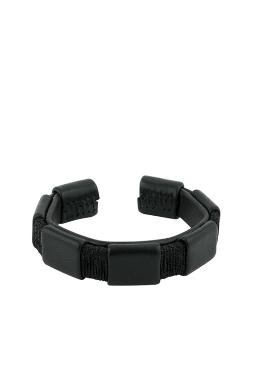 bracelet with black leather and lurex made in France