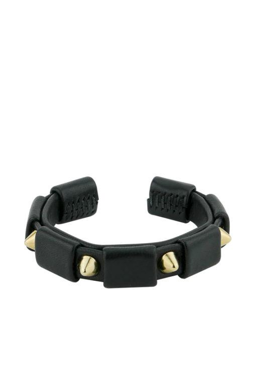 bracelet clouté or et cuir noir made in France