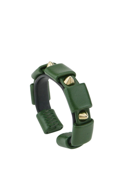 bracelet clouté or et cuir vert made in France
