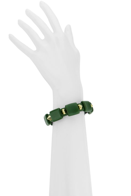 bracelet clouté or et cuir vert made in France
