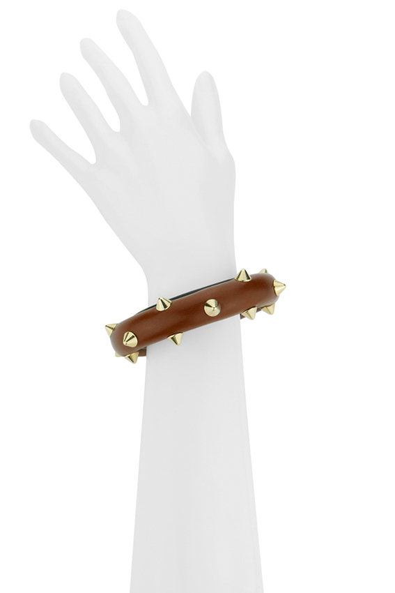 bracelet tube clouté or et cuir marron made in France