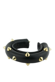 bracelet tube clouté or et cuir noir made in France