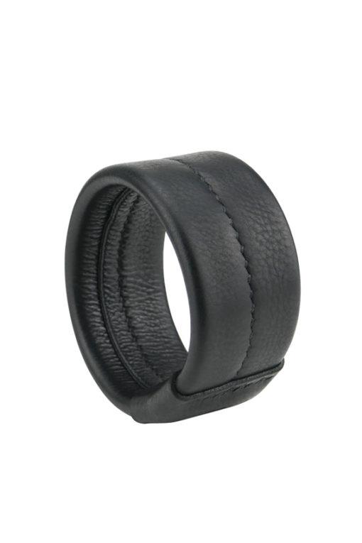 manchette jonc sellier élégant en cuir noir made in France