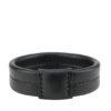 bracelet jonc sellier élégant en cuir noir made in France