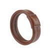 bracelet jonc sellier élégant en cuir marron made in France