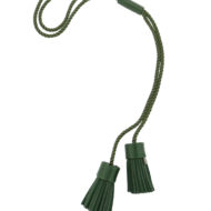 Necklace with leather tassels and passementerie made in France