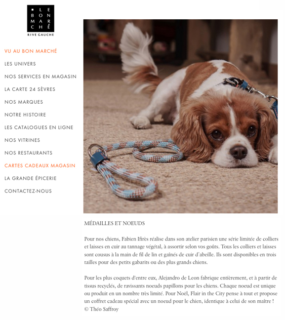 Fabien Ifirès, des accessoires pour chiens en vente chez Le Bon Marché Rive Gauche à Paris, corner Flair in the City.