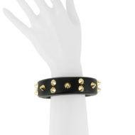Bracelet design Fabien Ifirès, nouveau volume, cuir noir et clous dorés, style unique made in France.