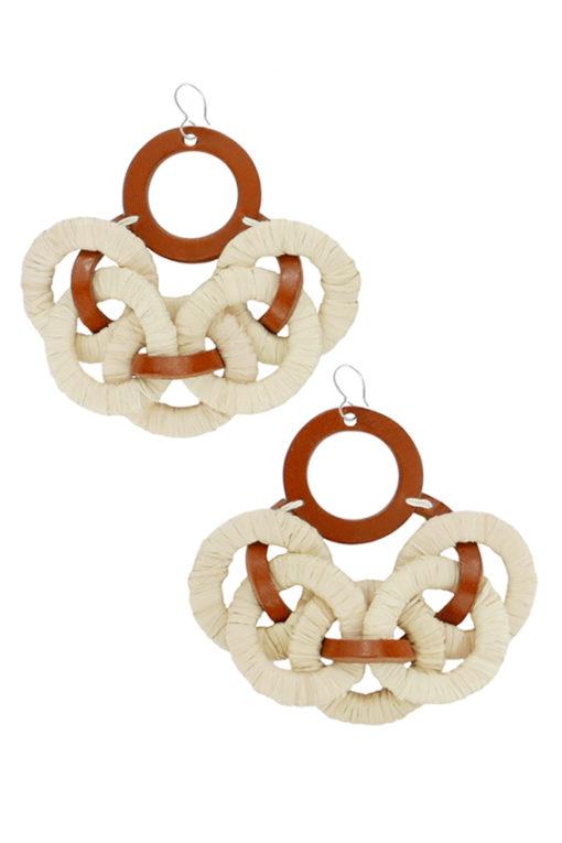 Boucles d'oreilles design Fabien Ifirès, fabriquées à la main en cuir et raphia tressé, 100% Made in France à Paris