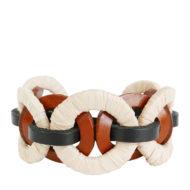 Bracelet design Fabien Ifirès, mélange de cuir noir et marron et de raphia tressé, 100% made in France