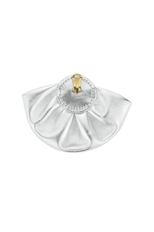 Boucles d'oreilles clip 80s métallisé argent design exclusif Fabien Ifirès