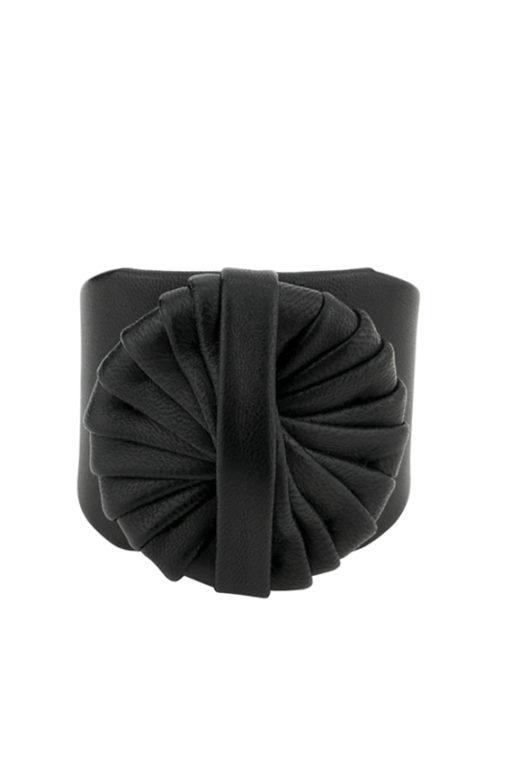 manchette cinétique en agneau noir plissé